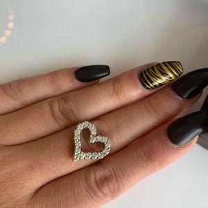 14K Diamond Heart Pendant 0.85 Ct diamonds